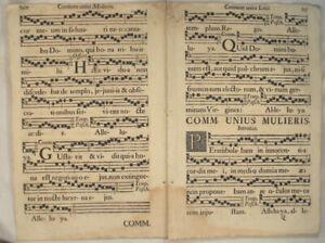 MUSIK-Noten-NEUMEN-RIESEN-Doppelblatt-1690-Mittelalter-Lieder-CHORAL-Chor-Gesang