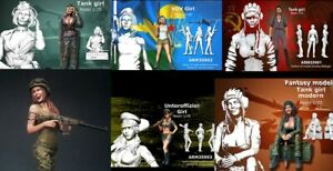 1-35-Resin-Figure-Model-Kit-Sexy-Girl-Tank-Soldiers-WWII-6-figures-Unpainted
