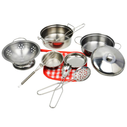 10PCS Stainless Steel Pretended Play Cookware Set Kids Educational Gift