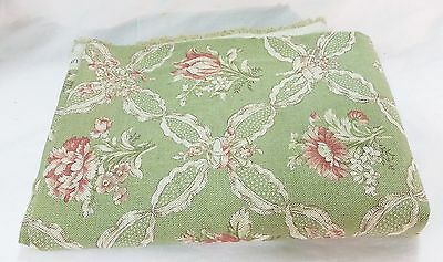 P Kaufmann fabric vat color floral mint green soil stain repellent USA