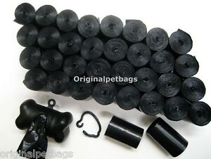 1100 DOG PET WASTE POOP BAGS BLACK CORELESS WITH FREE BLACK DISPENSER