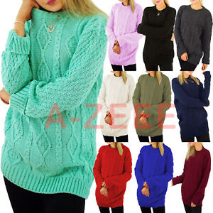 Womens-Baggy-Jumper-Ladies-Cable-Knit-Sweater-Oversized-Casual-Pullover-Tops