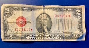 1928 G US $2 DOLLARS RED SEAL STAR NOTE.
