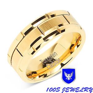 8mm-Men-039-s-Tungsten-Ring-Wedding-Band-14k-Gold-Brush-Center-amp-Grooves-Size-8-16