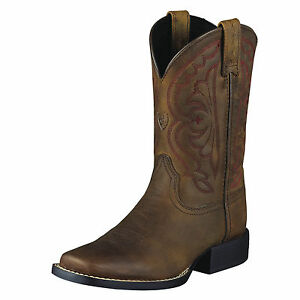 ARIAT-Kid-039-s-Western-Quickdraw-Boot-Distressed-Brown-10004853-New