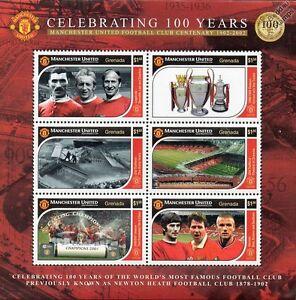 MANCHESTER-UNITED-Football-Club-Centenary-Stamp-Sheet-Man-U-Beckham-Charlton