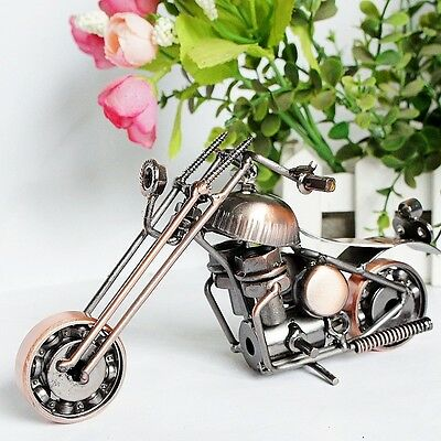 Hand-Welded Nuts Bolts Scrap Chopper Bike Iron Art Motorcycle Model Collection
