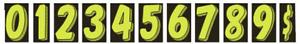 "CAR DEALER 11 dozen NEW 7.5"" VINYL WINDOW NUMBER STICKERS Flor. Green/Black"
