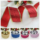 Christmas Wire-Edged Sparkle Ribbons Weeding XMAS Scrapbooking Gift Wraping DIY