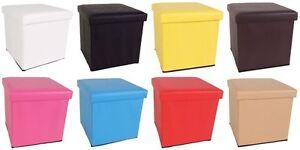 kunstleder sitzw rfel mit stauraum 8 farben sitzhocker aufbewahrung ebay. Black Bedroom Furniture Sets. Home Design Ideas