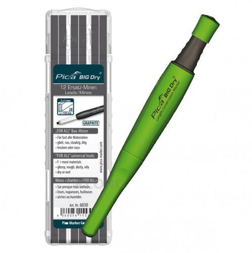 PICA-BIG Dry® 1 x Marker 12 Ersatzminen 6030 For All Bau-Minen Graphit