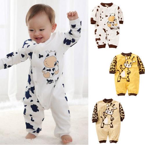 Baby Kinder Jungen Mädchen Kuh Cotton Overall Anzug Strampler Bodysuit Kleidung