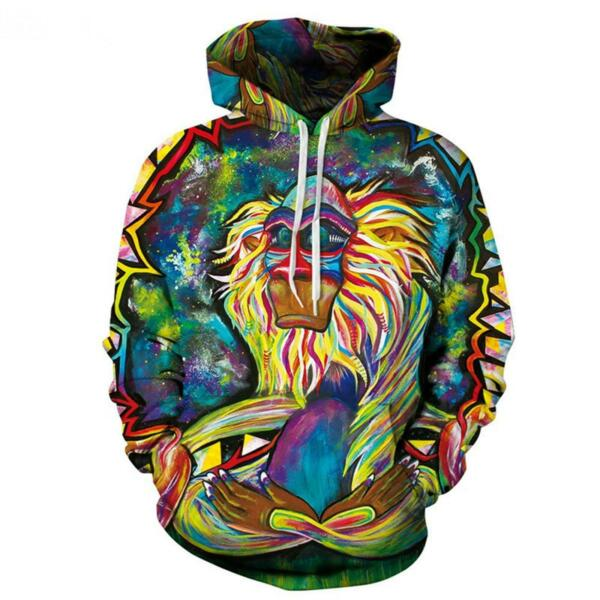 Men Meditation Rafiki Hoodie Graffiti Rasta Monkey Elder Women Hooded Pullover