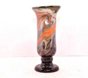 """Studio art glass vase Modern Contemporary Pulled feather Art nouveau style 9"""""""