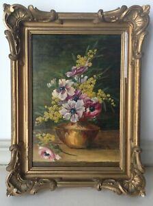 Renée BENON Tableau ancien Anémones Mimosas Huile sur toile Signée