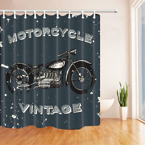 Retro Motorcycle Bathroom Decor Shower Curtain Waterproof Fabric W 12 Hook