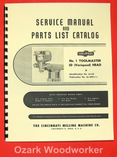 CINCINNATI No 1 Toolmaster Milling Machine /& ID Varispeed Head Part Manual 0124