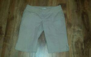 Women's Professional Career Tan/Beige Capri Cuffed White Striped Shorts - size 9