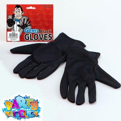 Adult Short Black Gloves Magician Mens Womens Fancy Dress Accessory