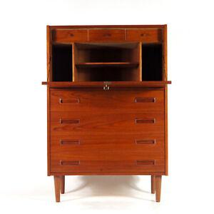 Retro-Vintage-Danish-Teak-Bureau-Office-Desk-High-Cabinet-Chest-of-Drawers-1960s