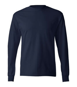 River-Road-manga-larga-para-hombre-Plain-T-Shirt-punos-100-Cotton-Premium-Camiseta-Casual