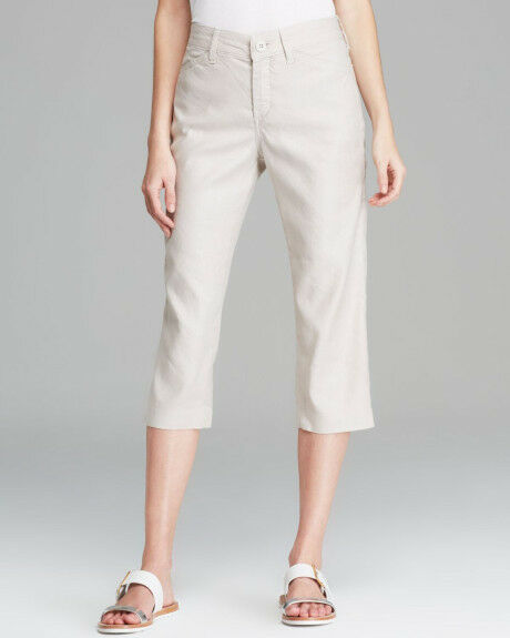 NEW NYDJ Not Your Daughters Jeans TATUM sand dollar LINEN crop capri pants 6P