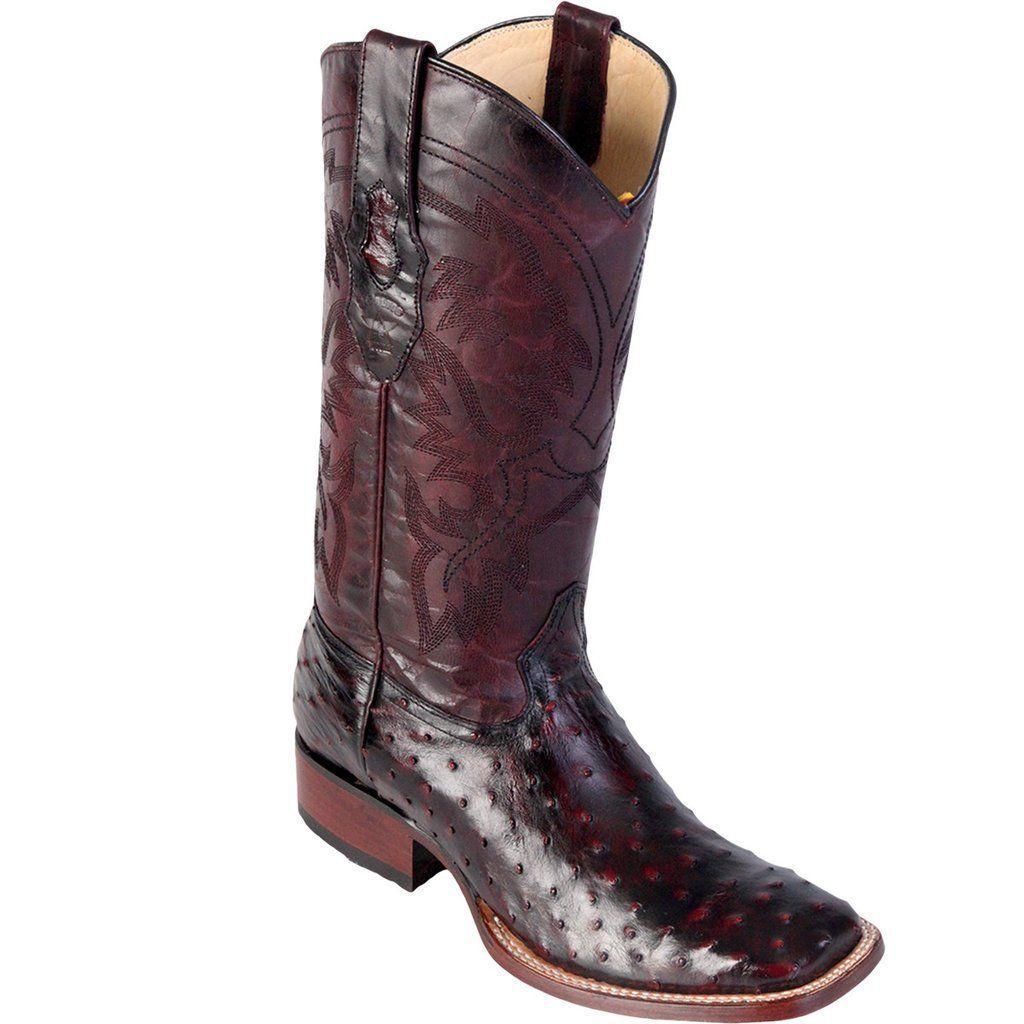 Los Altos Genuine CHERRY Ostrich Square Toe Western Cowboy Boot EE+