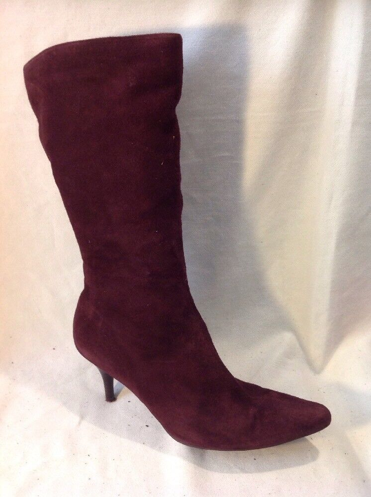 Clarks Maroon Mid Calf Suede Boots Size 5.5
