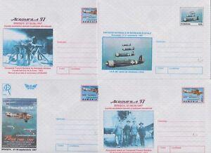 Brillant La Roumanie Entiers Postaux Enveloppes Motif: Avions, Les Pilotes 5 Pièce Cachet 1997-afficher Le Titre D'origine