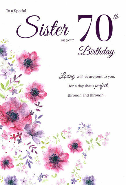 SUPER COLOURFUL EMBOSSED SHOPPING /& CHATTING SISTER BIRTHDAY GREETING CARD