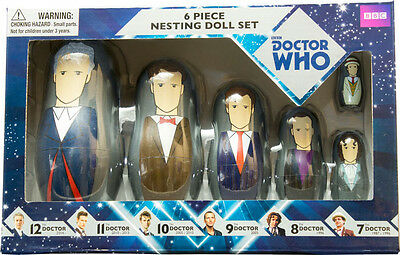 DOCTOR WHO by Ikon Collectables Doctors 6th // 1st 6 Piece Nesting Doll Set