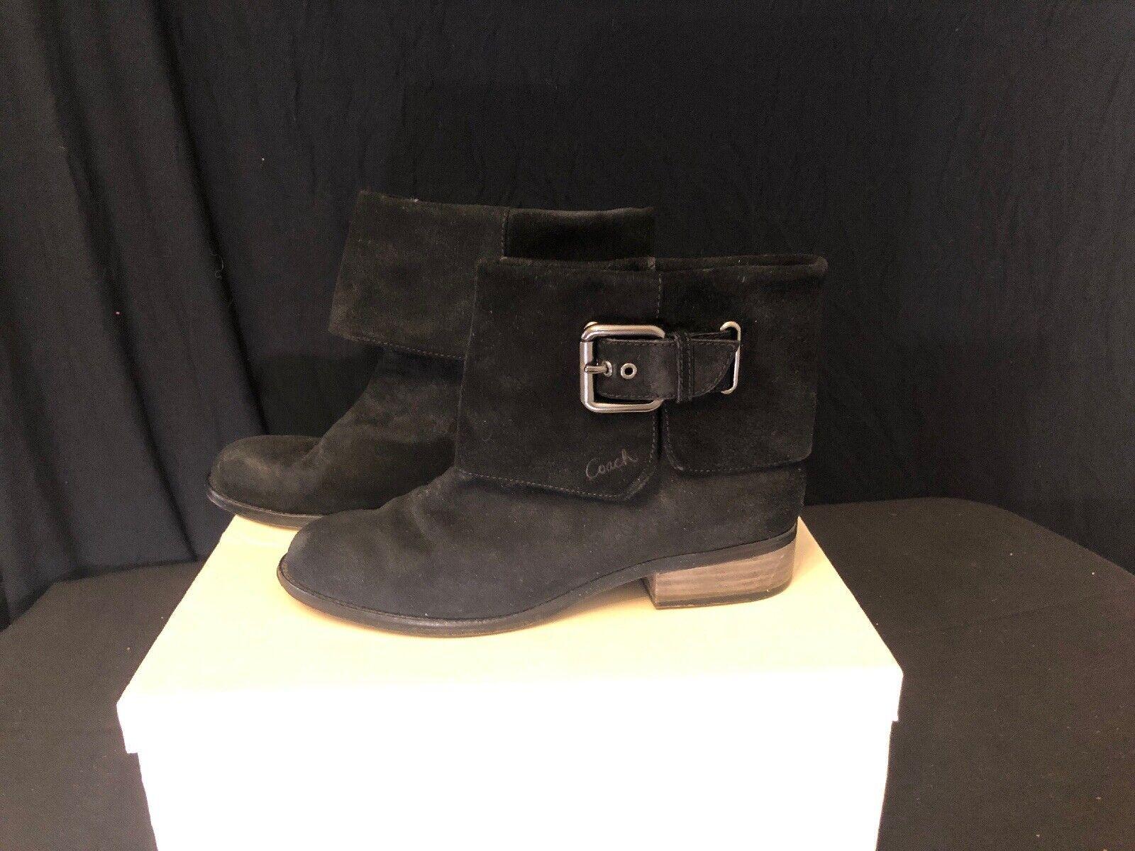 Entrenador nalita Negro Gamuza pliegue sobre botas al tobillo con caja de tamaño 8.5