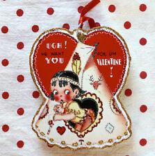 Glittered Wooden Valentine Ornament~Indian Boy~Vintage Card Image~Handmade