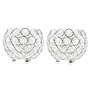2x-Crystal-Bling-Candle-Holder-for-Wedding-Dining-Table-Decor-10cm-Silver