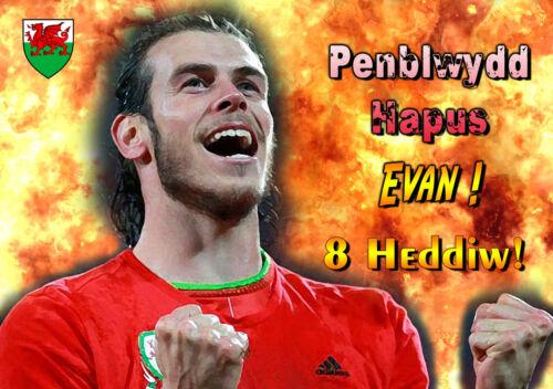 Pays de galles welsh football gareth bale joyeux anniversaire personnalisé frauduleux euro art carte
