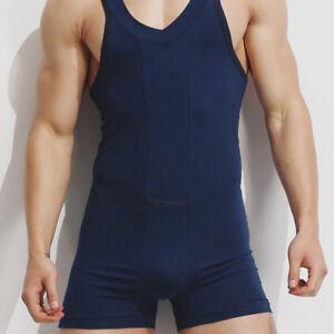d2082b03f Men s Sexy one piece Cotton Jumpsuit Pajamas Plain Bodysuit ...