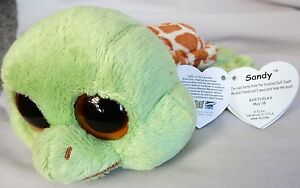 0942e35c62d Sandy The Sea Turtle ORIGINAL FACE RARE Solid Eye Ty Beanie Boo NEW ...
