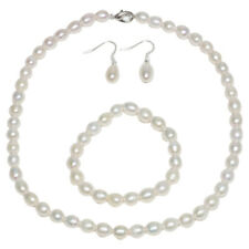 Rhodium Plated 3pc Cultured Freshwater White Pearl Necklace Bracelet Earring Set