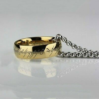 Stainless Steel Cosplay Jewelry The One Ring Bilbo's Hobbit Gold Ring & Chain