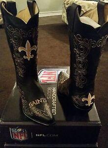 405b339f Details about New Orleans Saints Ladies Black Leather Boot size 5.5 6 11  Fancy Stitched Cowboy