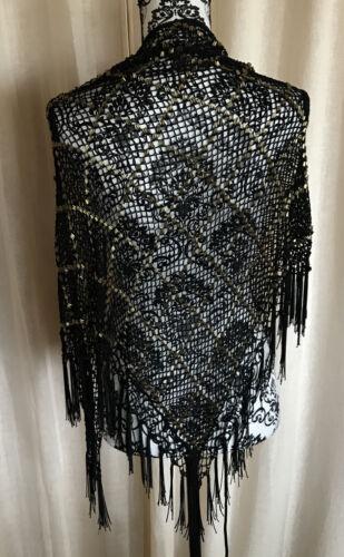 Daniele Meucci Black Crochet Knit GOLD Beaded Fri… - image 1