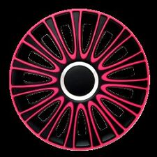 "BRAND NEW CAR 14"" BLACK & PINK LE MANS WHEEL TRIMS / HUB CAPS FULL SET OF 4"