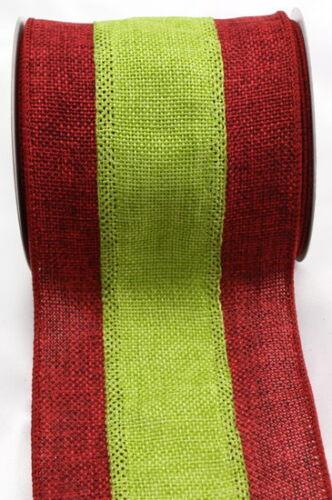 "PRIMITIVE CHRISTMAS BURLAP JUTE RIBBON RED /& GREEN 4/"" x 15/' Deco Mesh Wreath"