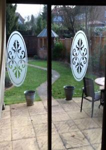 2 X Glass Etch Window Patio Door Shower Screen Frosted