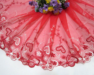 """9""""*1yard Heart-Shaped Embroidery Tulle Lace Trim Sewing/Craft ~ White~Red"""