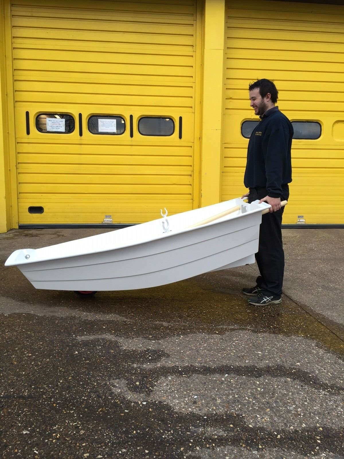 Fibreglass Pram ROLLER Dinghy Rowing Boat 2 m 6' 8  Row Tender Inc Launch Wheel