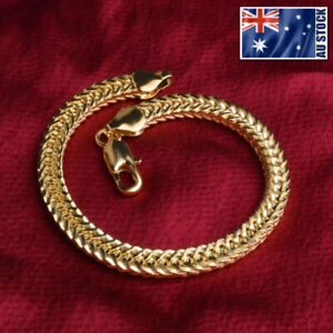 New-18K-Gold-Plated-6MM-Double-Curb-Chain-Solid-Link-Bracelet-Mens-amp-Womens-Gift