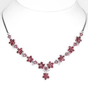 925-plata-esterlina-genuino-Cluster-de-Rubi-Natural-Rosa-Oscuro-Collar-171-2-pulgadas