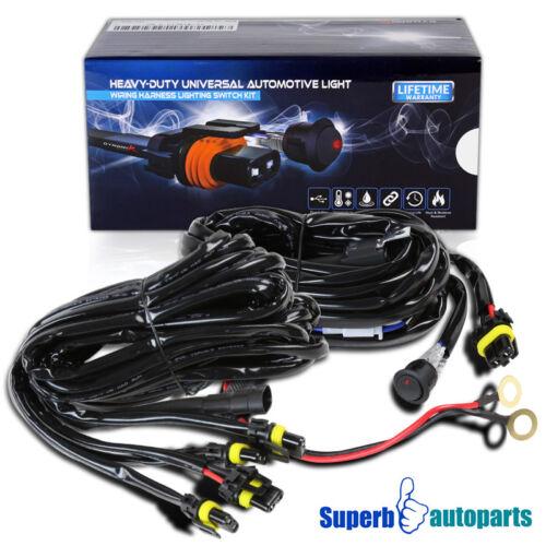 LED Work Fog Light 12V 40A 12 Gauge Offroad bar Wiring Harness Kit w//Switch