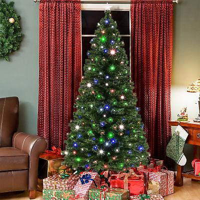 BCP 7ft Fiber Optic Artificial Christmas Pine Tree w/ 280 Lights, Stand - Green